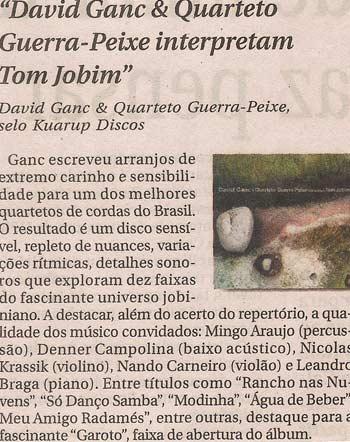 David Ganc & Quarteto de Cordas Guerra Peixe interpretam Tom Jobim