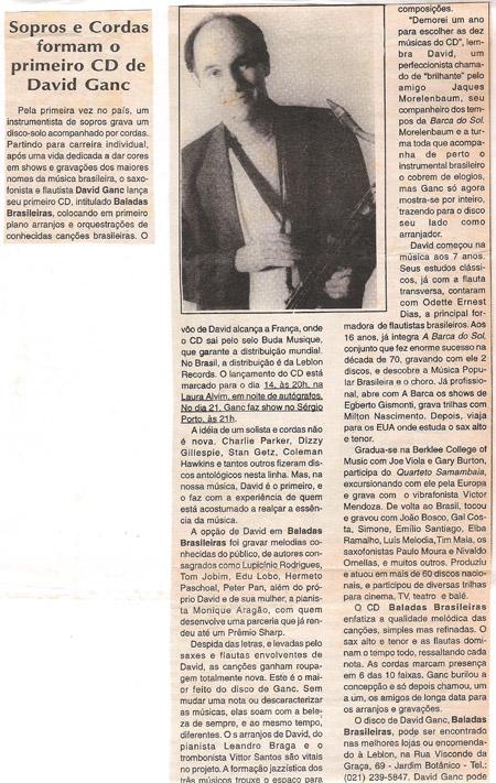 Sopros e cordas forma o primeiro CD de David Ganc