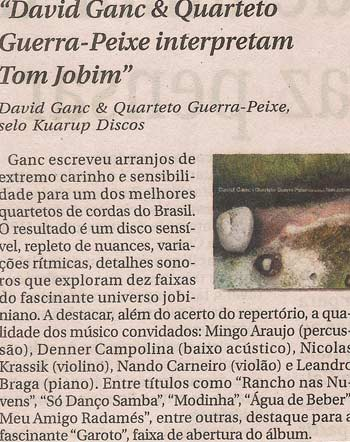 David Ganc & Quarteto de Cordas Guerra Peixe interpretam Tom Jobim