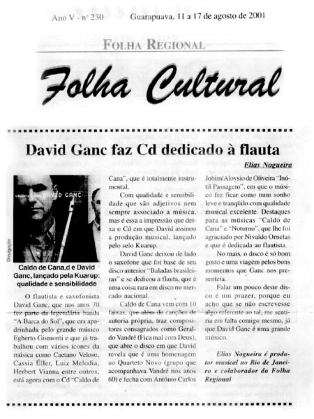 David Ganc faz CD dedicado à flauta
